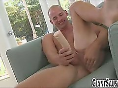 Amateur stud gets hairy ass fucked by a dildo