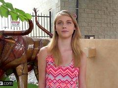 Petite teen Hannah Hays cheats on her boyfriend in public