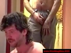 Smoking redneck bears jerks on his best friends dick - 5 min