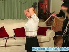 Master turns tranny slave into cock sucking cum slut after ass punishment