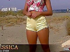 Una giornata in spiaggia, impressionante teen pantaloncini stretti