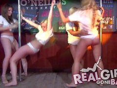 Hot teens strip naked on stage for filthy wet t-shirt contest