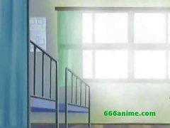 Rondborstige Oudere Anime leraar wordt geneukt door 2 geile studenten