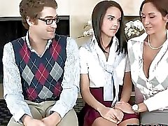 Teacher Ava licks guys GF while he watch