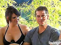 Swingers in hot lesbian action