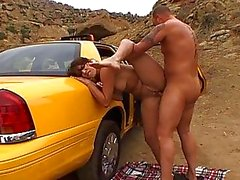 Amateur adorable brunette chick with natural tits fucking on the car
