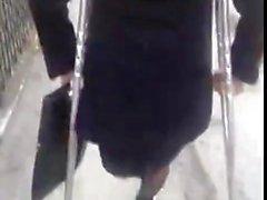 sexy leg amputee girl crutching