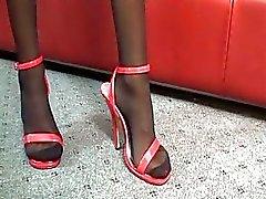 Külotlu çorap seksi esmer milf genç sert gaf sürmek