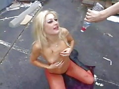 Dirty blonde slut gets her throat fucked hard and deep