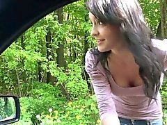 Czech teen hitchhiker gets her ass cumshot