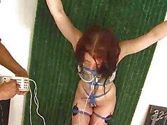 I capezzoli adolescente legato ottengono della tortura elettroidraulico