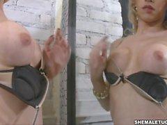 Alessandra Leite masturbation off big cock in Blonde in the Mirror
