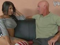 TS babysitter Jane Marie is anal banged