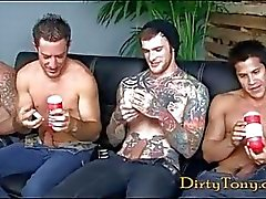 Fours nasty gay hunks masturbating on porn casting