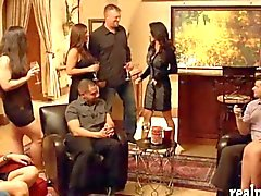 Swingers massive orgy in the red room inside the mansion