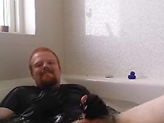 Danish Guy - Rubbercub wanking in bathtub