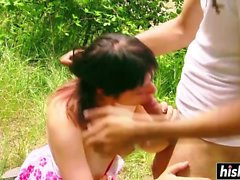 Outdoors pussy drilling with Victoria Dixon