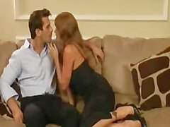 Busty cougar Darla Crane banging on couch