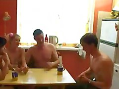 Russian swingers play strip poker.