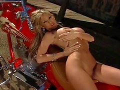 Sexy Blonde Biker having fun