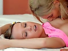 Two teen women trying new strapon