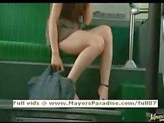 Rio oskyldig kinesisk flicka körd på bussen