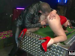Tattooed guy drills a tight shaved cunt