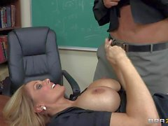 Teacher Julia gets busy with new student