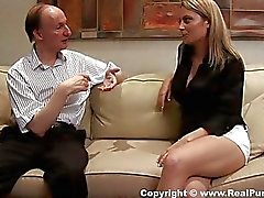 Blonde pays the rest of the money with titjob