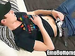 Emo twink Danny Star tugging his cock in his bed