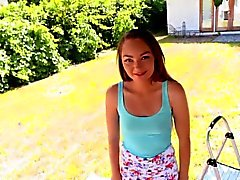 Adorable petite teen Sabrina Ray pounded by a monster cock