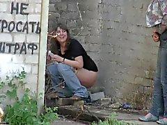 Girls take off panties pee outdoors 2