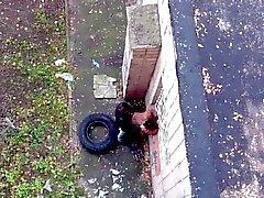 Любительские Пару поймали гребаный на открытом воздухе