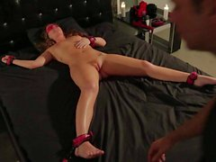 Naked Maddy Oreilly gets tied to bed in BDSM video