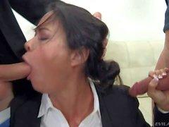 Secretary Dana gets her throat fucked rough by Danny
