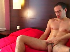 Room service straight guy gets wanked his big cock by a client.