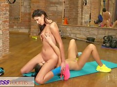 Fitness Rooms Tiny teen has tight little pussy fucked after gym workout