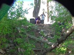Girls pee in the park at the wedding