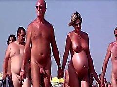 Franska nudist beach keps d för Agde människor som gick nakenstudie 04