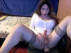 Sexy shemale fucks her ass with a dildo