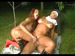 Shemale Nun & Friend Fuck Guy