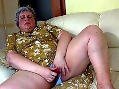 Fat Dildo velho Fodendo Oma