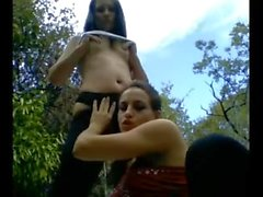 Two camgirls outdoor picnic fun