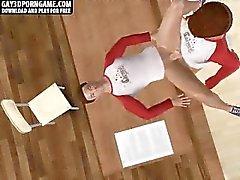 Роговой 3D мультфильма штифт быть трахнутой после уроков