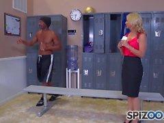 Spizoo - Sarah Vandella sucking a Big Black Cock, big boobs and big booty