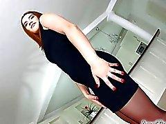 Asstraffic brunette in black dress gets analized