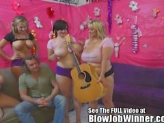 Huge tittied Samantha 38G and friends deepthroat fan