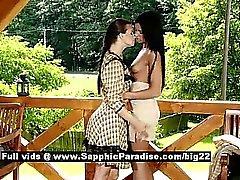 Ashley and Klara astonished lesbian babes anal fingering