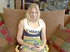 Blond Cheer Leader gets anal fucked for the first time