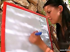 Hot outdoor lesbian action with sexy